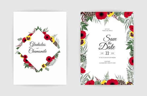 Botanisches hochzeitseinladungskartenschablonendesign, weiße und rosa blumen auf weißem hintergrund.