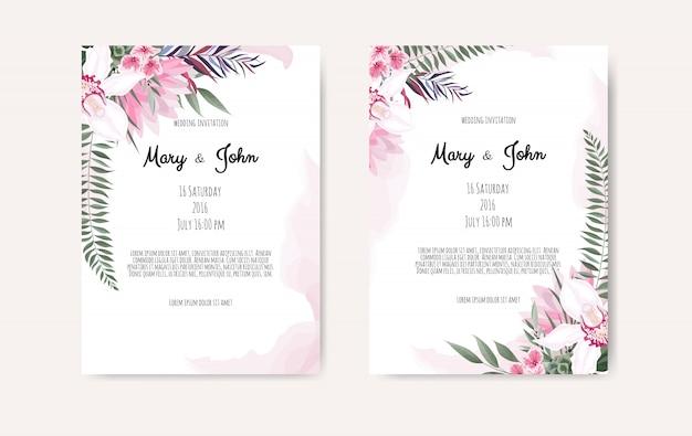 Botanisches hochzeitseinladungskartenschablonendesign, weiße und rosa blumen.