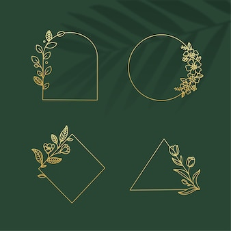 Botanisches logo-goldrahmenelement mit grünem blatthintergrund