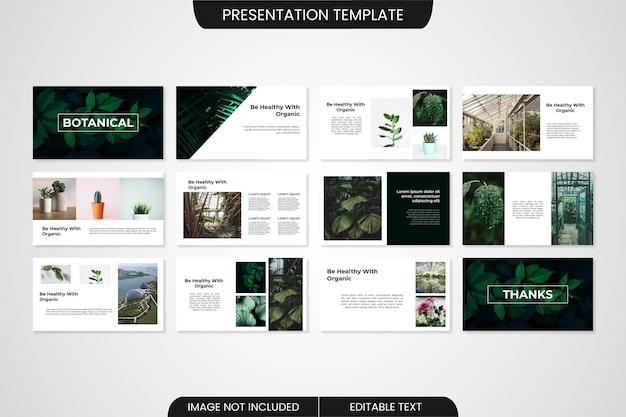 Botanisches minimalistisches powerpoint-präsentationsvorlagendesign