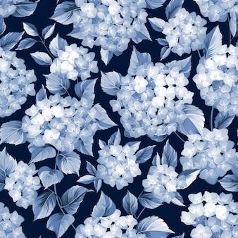 Botanisches nahtloses muster. blühende hortensie