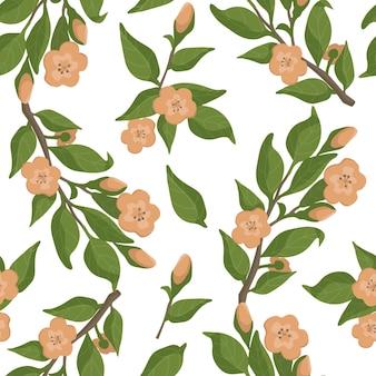 Botanisches nahtloses muster eines apfel- oder sakura-baumzweigs in voller blüte