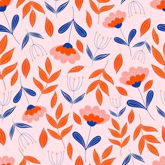 Botanisches nahtloses muster mit blumen auf pastellrosa hintergrund. blätter und blüten tapeten.