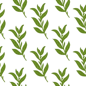 Botanisches nahtloses muster mit einfachen grünen blattzweigen