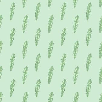 Botanisches nahtloses muster mit hellgrüner tropischer blattverzierung. pastellblauer hintergrund. einfacher stil.