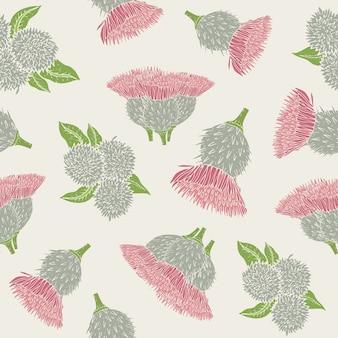 Botanisches nahtloses muster mit stacheligen klettenköpfen oder bohrern und blättern.