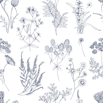 Botanisches nahtloses muster mit wiesenkräutern, blühenden pflanzen und blühenden wilden blumen hand gezeichnet mit blauen linien auf weißem hintergrund. natürliche illustration im vintage-stil für stoffdruck.