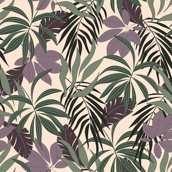 Botanisches nahtloses tropisches muster mit schönen purpurroten blättern und anlagen