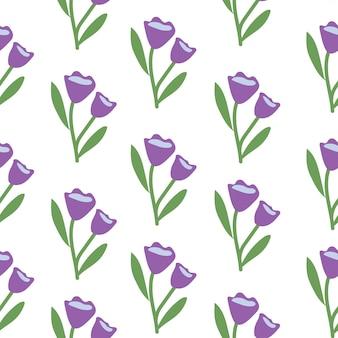 Botanisches nahtloses tulpenblumenmuster im frühling oder sommer