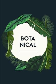 Botanisches plakat mit blättern im quadratischen rahmen