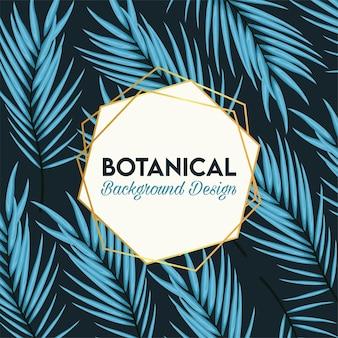 Botanisches plakat mit blauen blättern und goldenem rahmen