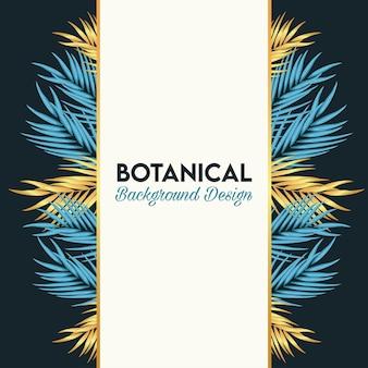 Botanisches plakat mit goldenen und blauen blättern