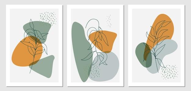 Botanisches wandkunst-boho-stil-set. tropische laub-linienkunstzeichnung mit abstrakter form.