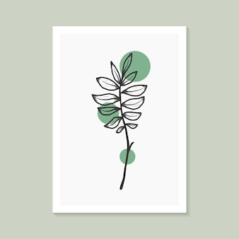 Botanisches wandkunstdesign mit abstrakter form elegant