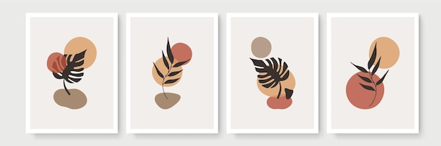 Botanisches wandkunstset. erdton boho laub strichgrafik zeichnung mit abstrakter form. minimale und natürliche wandkunst