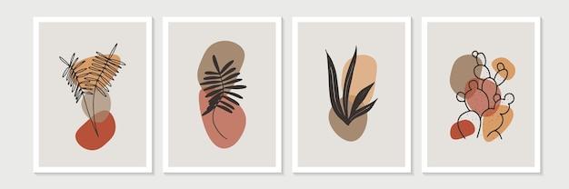 Botanisches wandkunstset. laublinienkunstzeichnung mit abstrakter form. minimale und natürliche wandkunst.
