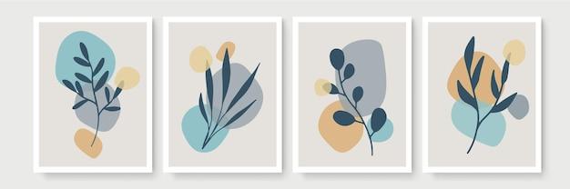 Botanisches wandkunstset. minimale und natürliche wandkunst. boho laub strichgrafikzeichnung mit abstrakter form. moderne illustration