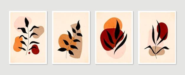 Botanisches wandkunstset. minimale und natürliche wandkunst. boho laub strichzeichnung mit abstrakter form.