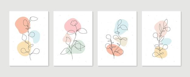 Botanisches wandkunstset minimale und natürliche wandkunst boho-laubzeichnung mit abstrakter form