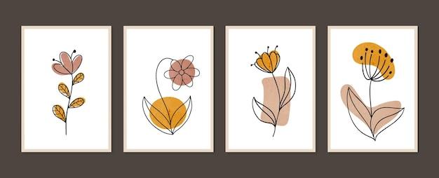 Botanisches wandkunstset minimale und natürliche wandkunst boho