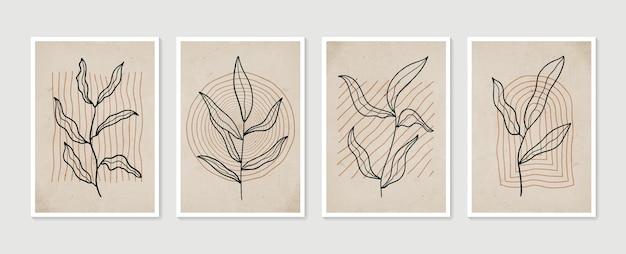 Botanisches wandkunstset minimale und natürliche wandkunst