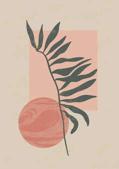 Botanisches zeitgenössisches wandkunstplakat