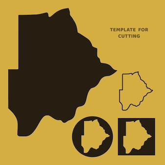 Botswana-karte vorlage zum laserschneiden, holzschnitzen, scherenschnitt. silhouetten zum schneiden. botswana karte vektorschablone.