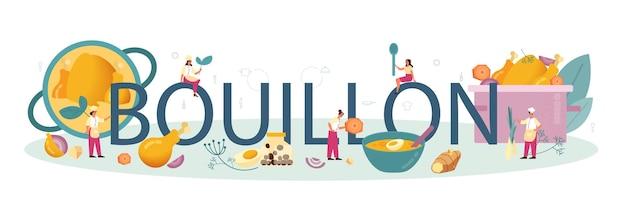 Bouillon typografisches wort. leckeres essen und fertiggericht. hühnerfleisch, zwiebel und kartoffel, karottenzutat. hausgemachtes abendessen oder mittagessen auf dem teller. flache illustration
