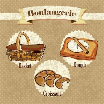 Boulangerie-elemente auf weinlesehintergrund