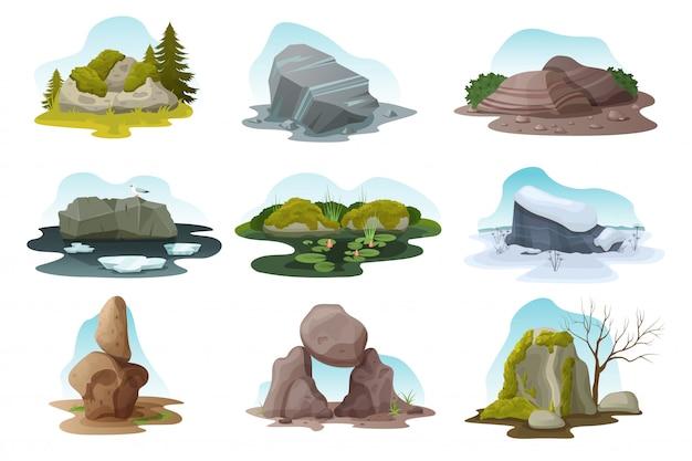 Boulder und steinstein isolierten illustrationssatz, karikaturhaufen von felsbrocken in allen naturjahreszeiten