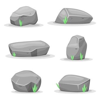 Bouldersteine lokalisiert auf weißem hintergrund. spiel-assets