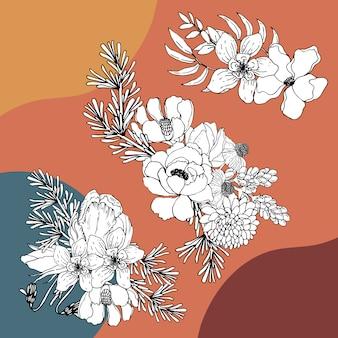 Bouquet blumen linie kunst tropisch. dekorative blütenpflanzen.