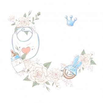 Bouquet kranz neugeborenen babyparty geburtstag. handzeichnung