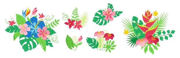 Bouquet tropische blumen und blätter gesetzt. hawaiianische karikaturblumenkomposition. monstera, palme und wilde blumen