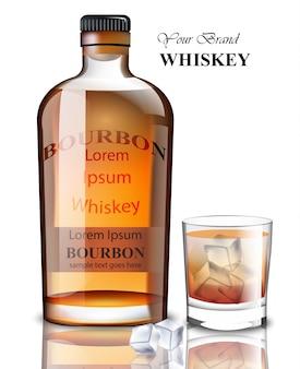 Bourbon realistische flasche. produktverpackungen markendesigns