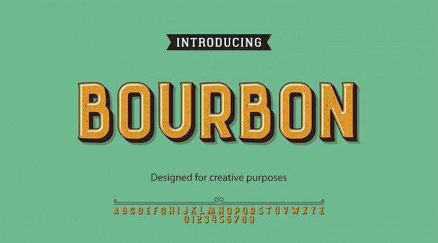 Bourbon-schrift. für etiketten und verschiedene schriftarten
