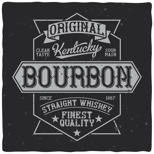Bourbon whisky-etikett im vintage-stil mit bearbeitbaren verzierten text-retro-sternen und -bändern