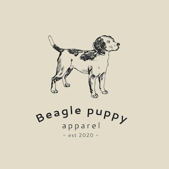 Boutique-business-logo-vorlage im vintage-hundebeagle-thema