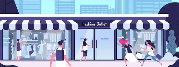 Boutique draußen. modeverkauf mit schaufensterpuppen in schaufenstern und mädchen, die entlang straße gehen. konsumkonzept