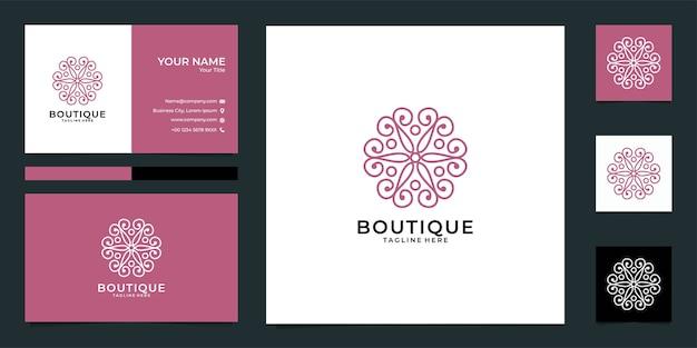 Boutique line art mandala logo und visitenkarte