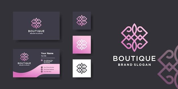 Boutique-logo-vorlage mit einzigartigem stil premium-vektor