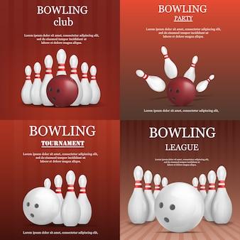 Bowling kegling banner konzept set