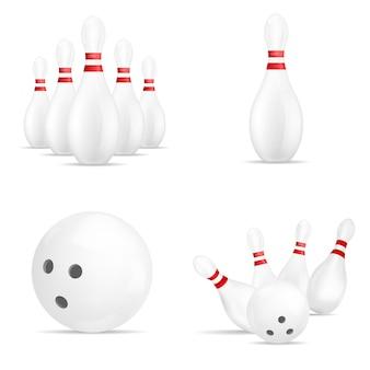 Bowling kegling mockup set. realistische abbildung von 4 bowlingspiel, kegling-modelle für web