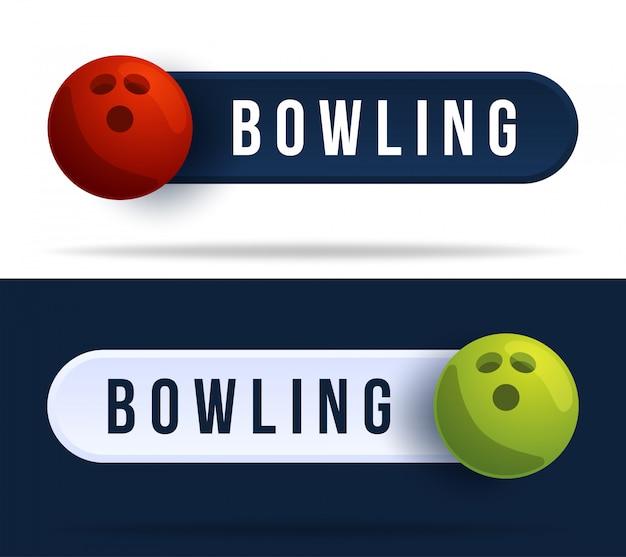 Bowling-kippschalterknöpfe. illustration mit basketballball und webknopf mit text