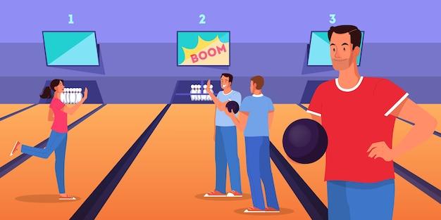 Bowling-konzept. manncharakter, der bowlingspiel mit ball auf gasse spielt. leute, die einen ball werfen, um zu stecken.