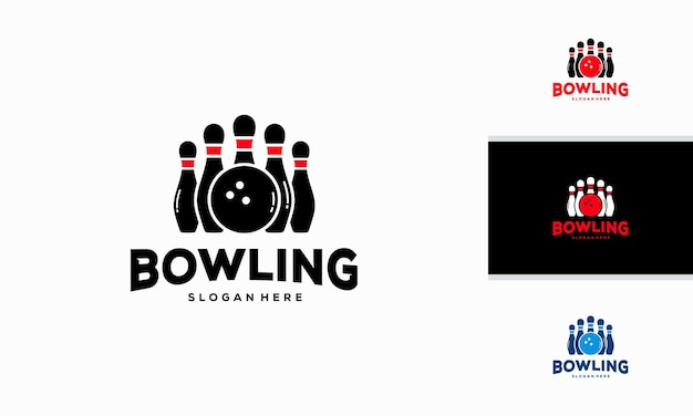 Bowling-logo entwirft konzeptvektor