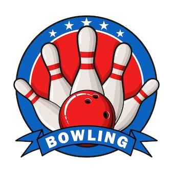 Bowling-logo, etiketten, abzeichen