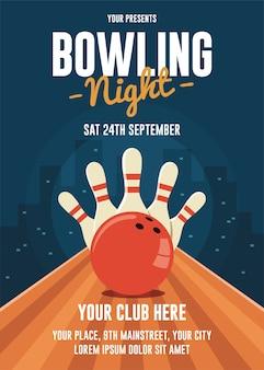 Bowling nacht flyer vorlage