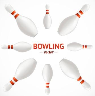 Bowling pins set karte oder poster. vektor-illustration