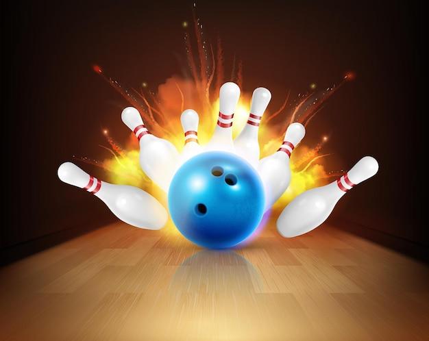 Bowling realistische feuerzusammensetzung mit blick auf bahn mit kugel und stiften unter schlag mit flamme